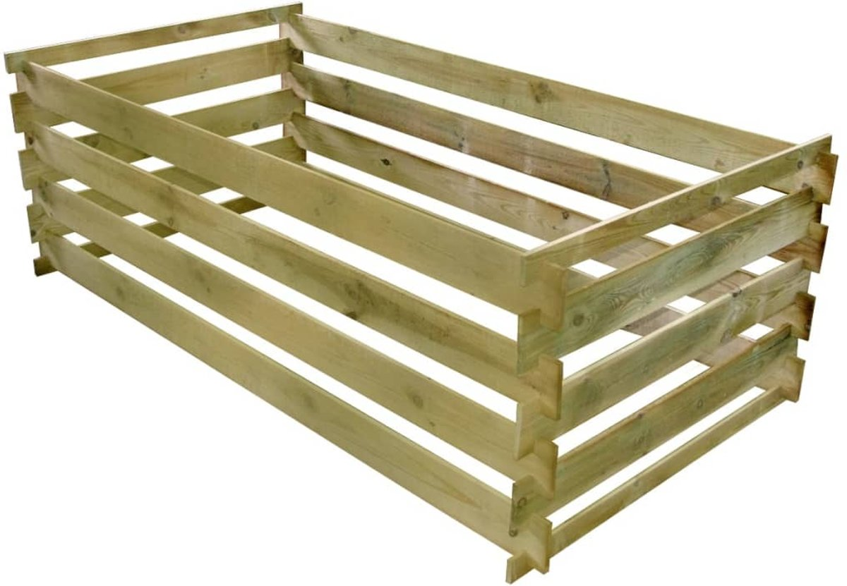 Compostbak met latten 160x80x58 cm FSC geïmpregneerd grenenhout (incl. Werkhandschoenen)