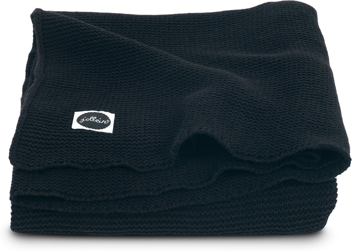 Deken 100x150cm Basic knit black