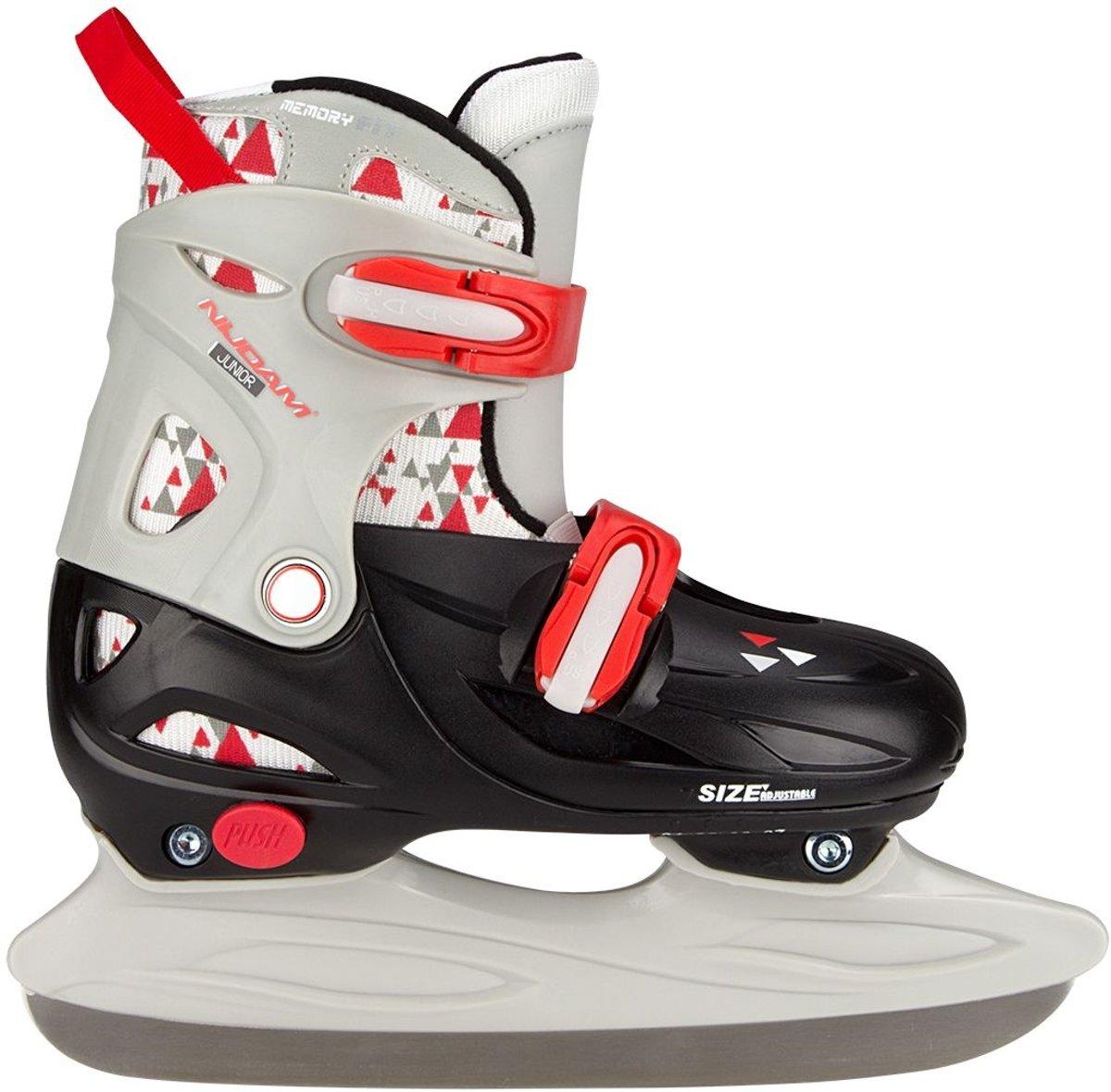 Nijdam Junior IJshockeyschaats Junior Verstelbaar - Hardboot - Zwart/Grijs/Rood - 30-33
