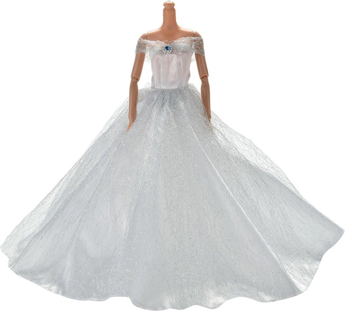 B-Merk Barbie trouwjurk, prinsessenjurk, wit, zilver