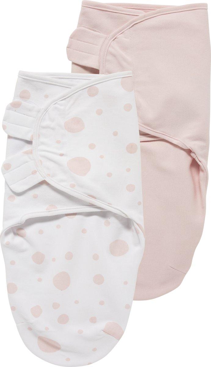 SwaddleMeyco Inbakerdoeken 2-pack - 0-3 maanden - Dots roze / Uni lichtroze