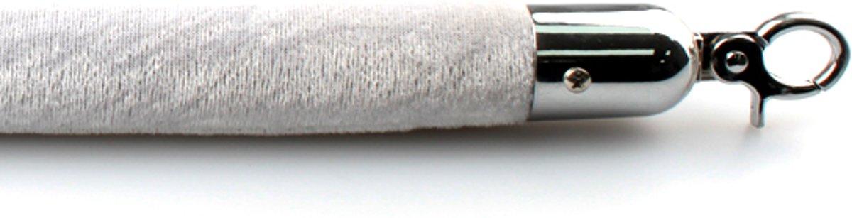 Velours koord wit/zilver met chroom sluiting