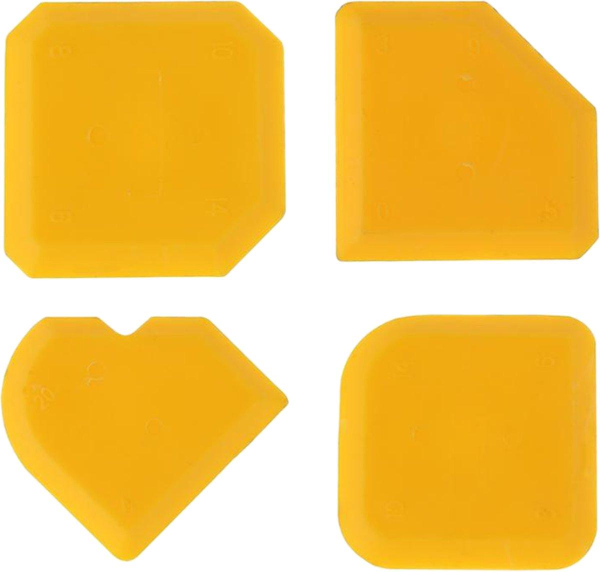 Siliconen afstrijkrubber set van 4   geel   kit