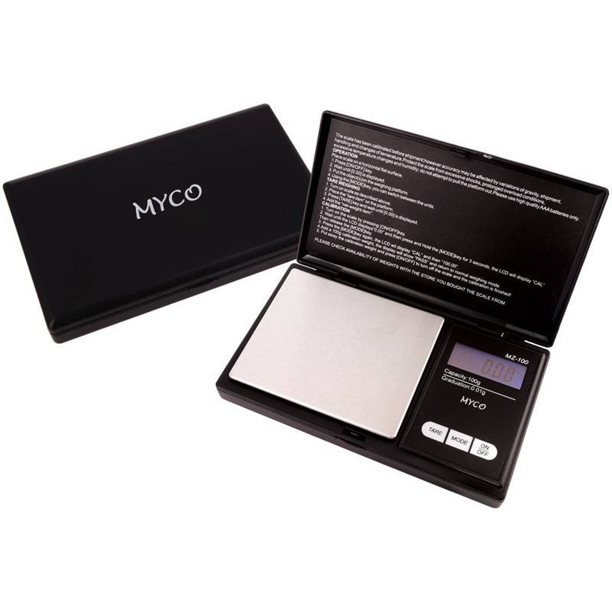 MYCO Professionele precisie weegschaal 0.01 gram nauwkeurig tot 100 gram