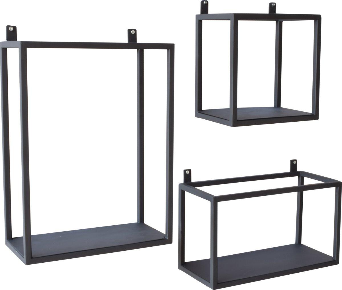 Urban Interiors - Wandkast - set van 3 - mat zwart kopen