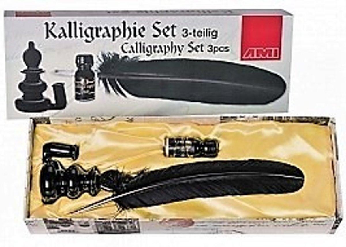 Afbeelding van Art Materials Handlettering set zwart 3-delig, kalligrafieset