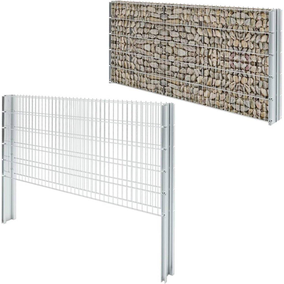 Schanskorf dubbelstaafmat 2008x1030 mm 12 m staal zilverkleurig (incl. Werkhandschoenen)