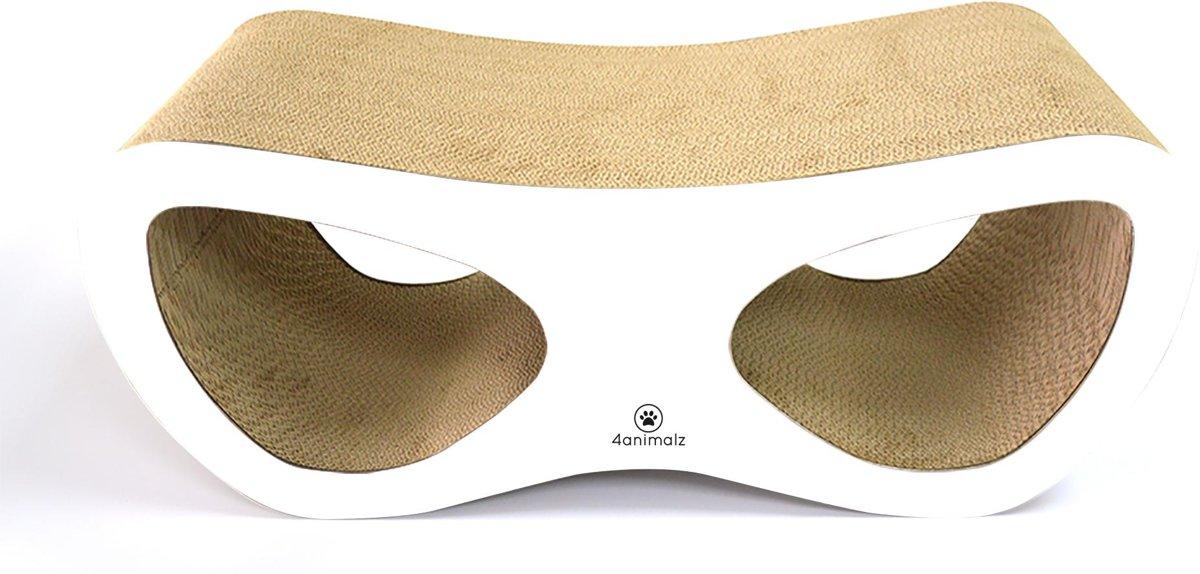 4animalz Lounge White - kartonnen krabpaal voor katten - 69x24x29cm