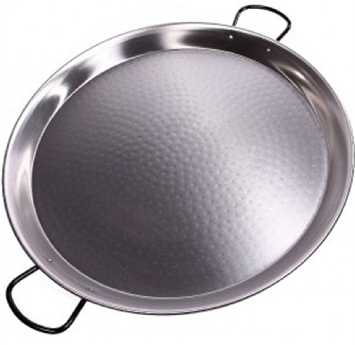 Kookpunt lage paellapan 70cm plaatstaal grijs