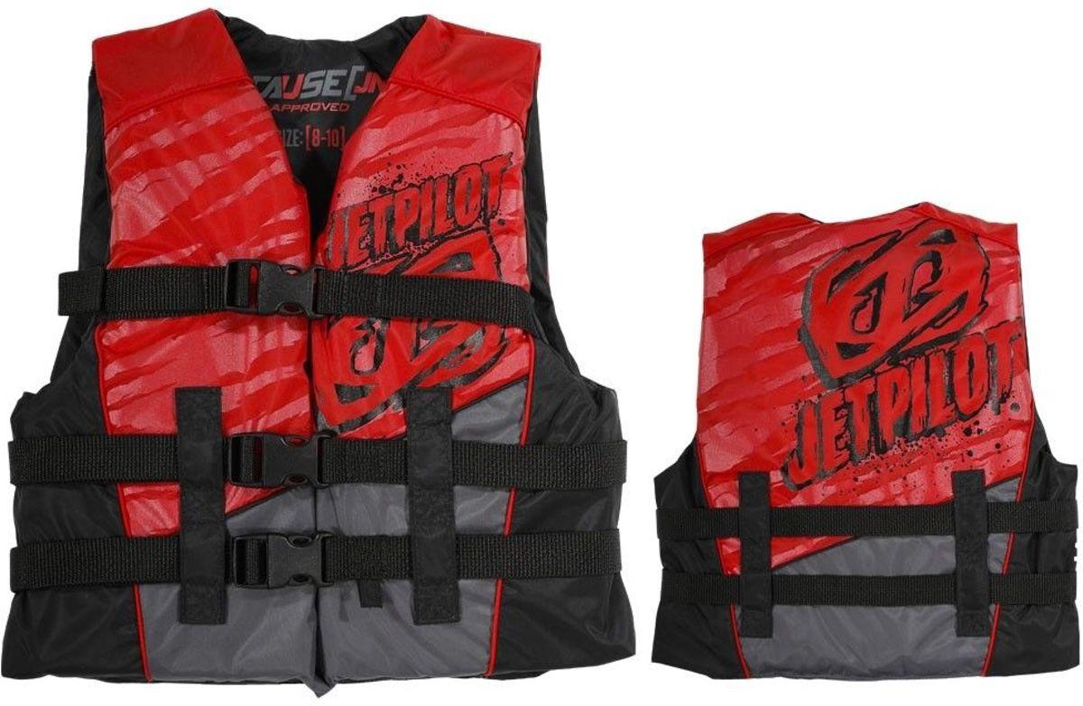 Zwemvest JETPILOT Cause Youth, 50N Nylon Vest, JA5210, Leeftijd 8 - 10 jaar, Black / Red