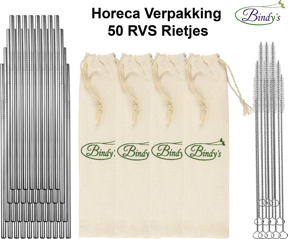 50 RVS Rietjes - Horeca Grootverpakking - Catering – Restaurants -  Incl. 12 Schoonmaak Borstels En 4 Linnen Bewaarzakjes