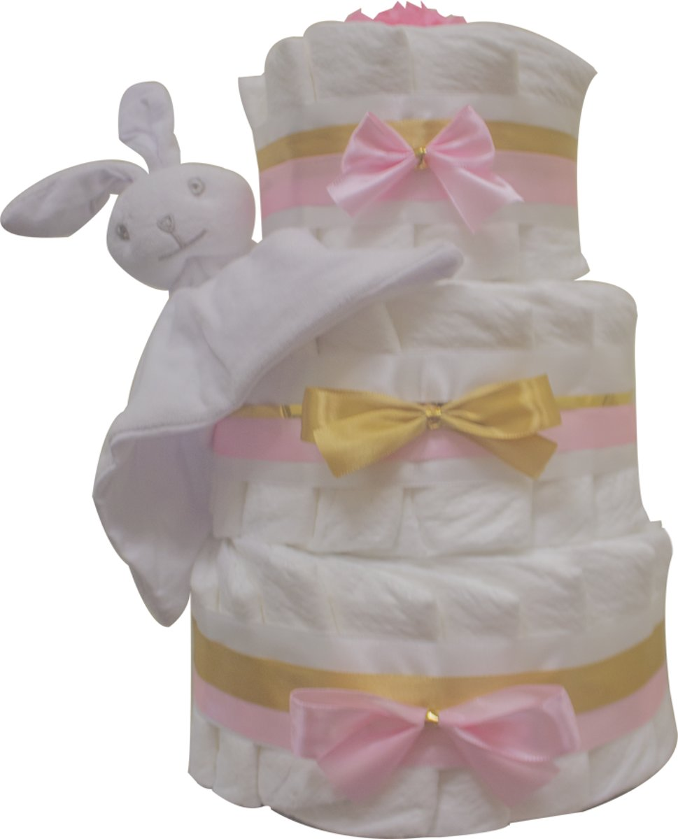 Pampertaart / luiertaart 3-lagen meisjes 41 Pampers roze maat 2 (4-8 kg) Kraamcadeau, Babyshower, Geboortecadeau