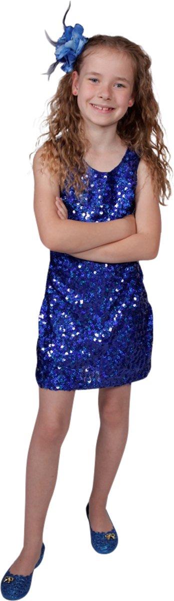 Pailletten disco jurkje kind, blauw