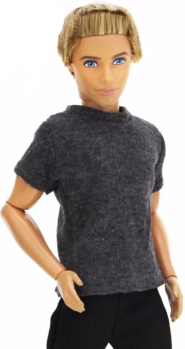 Poppenkleertjes - Geschikt voor Ken van Barbie - Grijs shirt en zwarte broek - Complete outfit - Kleding Ken
