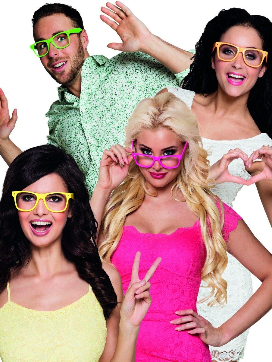 Boland Partybrillen Zonder Glazen 4 Stuks In 4 Neonkleuren kopen
