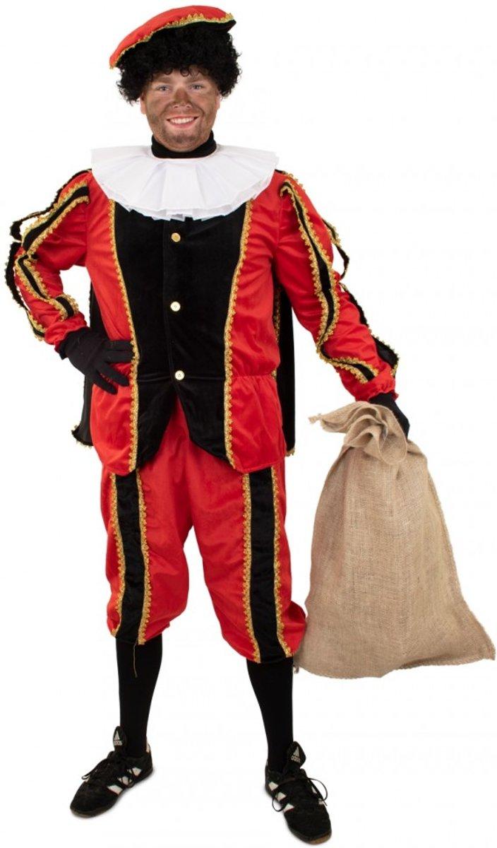 Pieten outfit zwart/rood pluche - Maatkeuze: Maat M/L