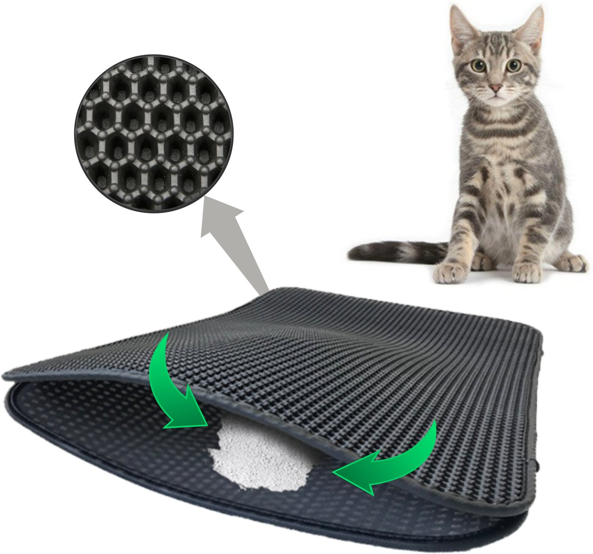 Kattenbakmat - Katten - Dubbele laag kattenbakvulling - Mat trapper - Opvang ruimte - Kattengrit opvangen - Honingraat - Waterdicht - Ademend - Zilver Grijs - Leren rand -Maat 40 x 50 - Eco-friendly kopen