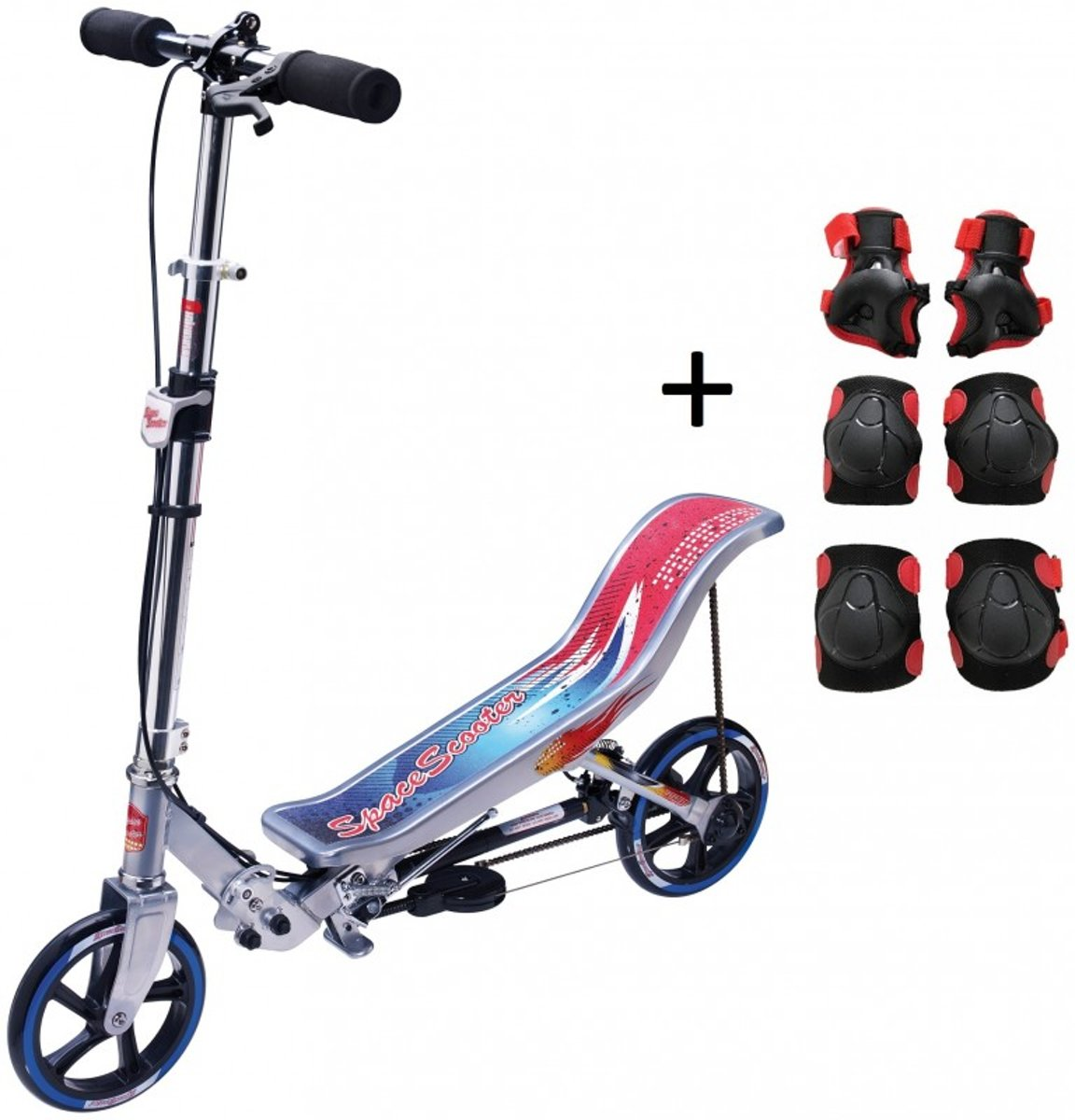 Space Scooter X580 - Step - Zilver / Blauw - Limited Edition + ThysToys Beschermset