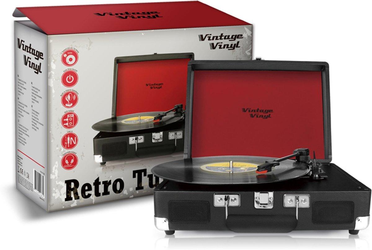 Bol vintage vinyl kofferplatenspeler zwart line in