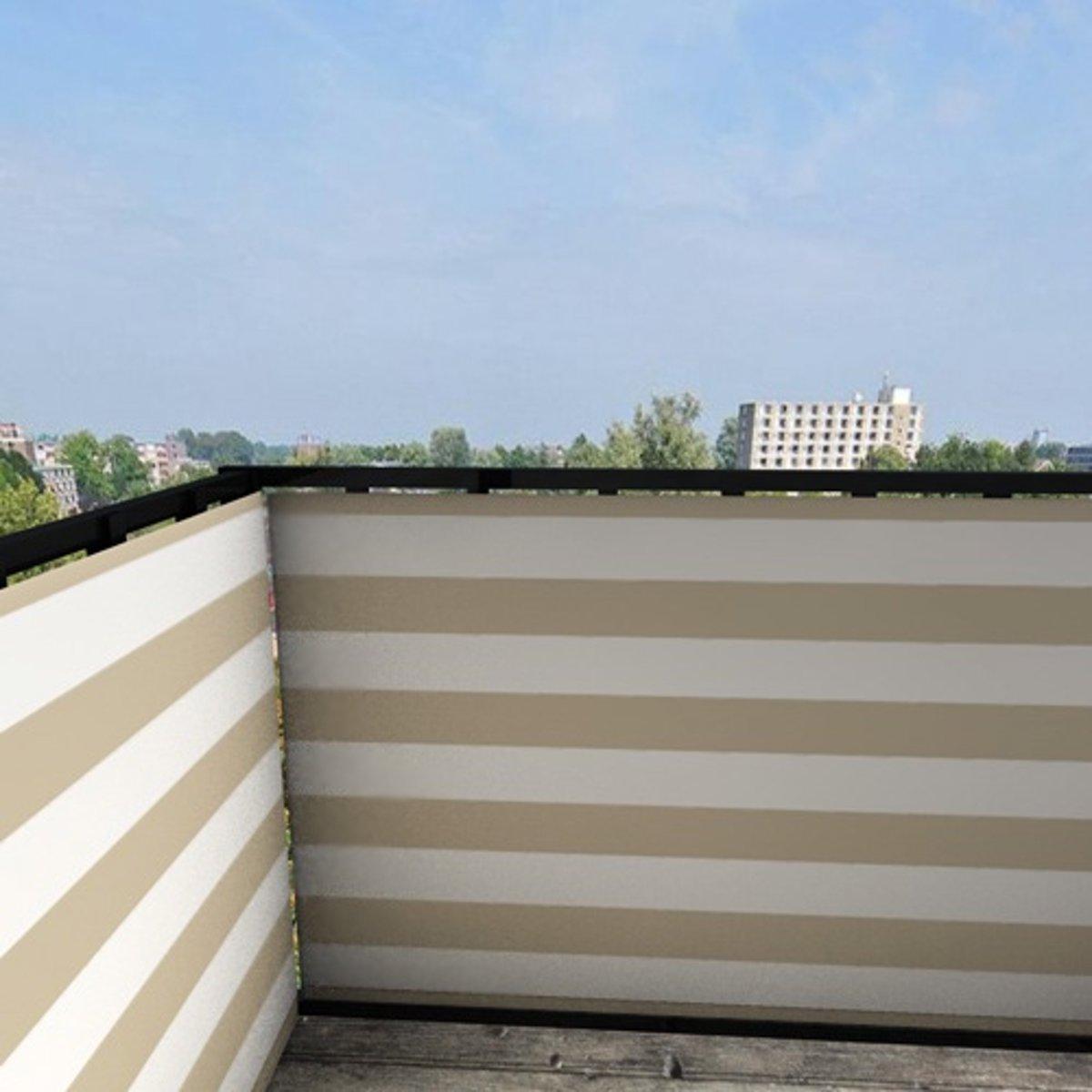 Balkonafscheiding gestreept beige (100x350cm Enkelzijdig)
