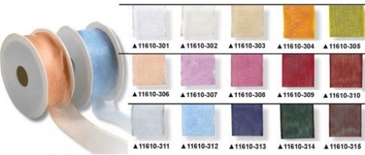 Afbeelding van product Ribbon Four Seasons met draad 40mm 25m steenrood