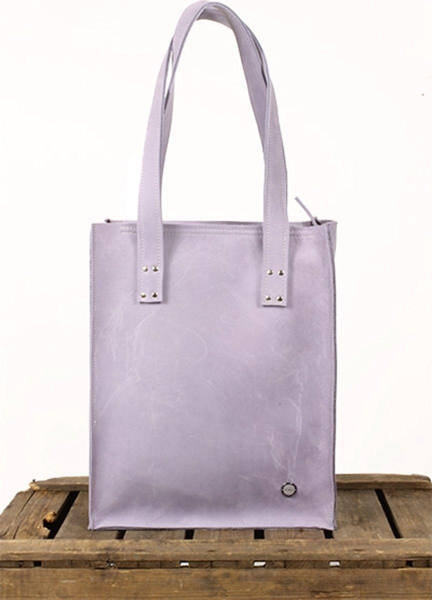 4ed619815d5 bol.com | Shopper leren tas Lila