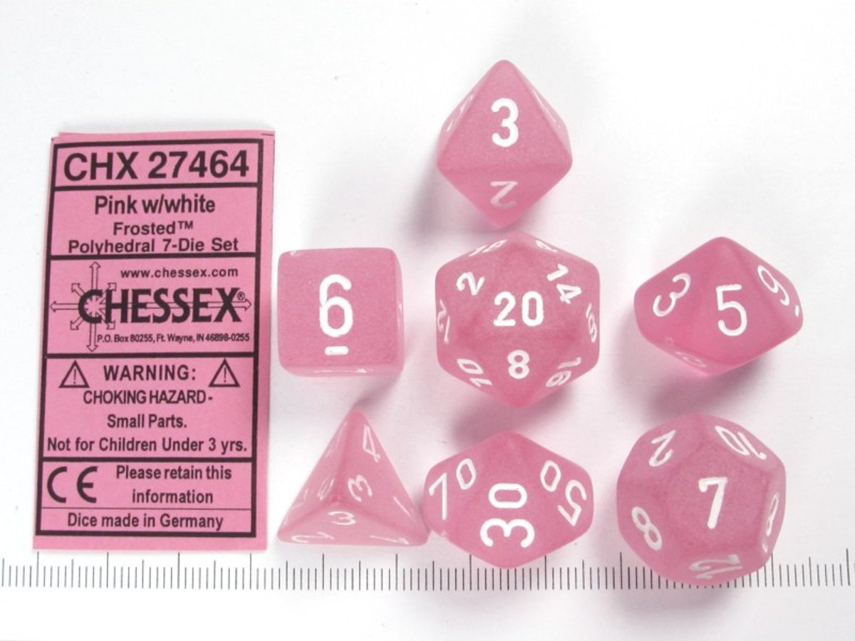 Chessex dobbelstenen set, 7 polydice, Frosted pink w/white