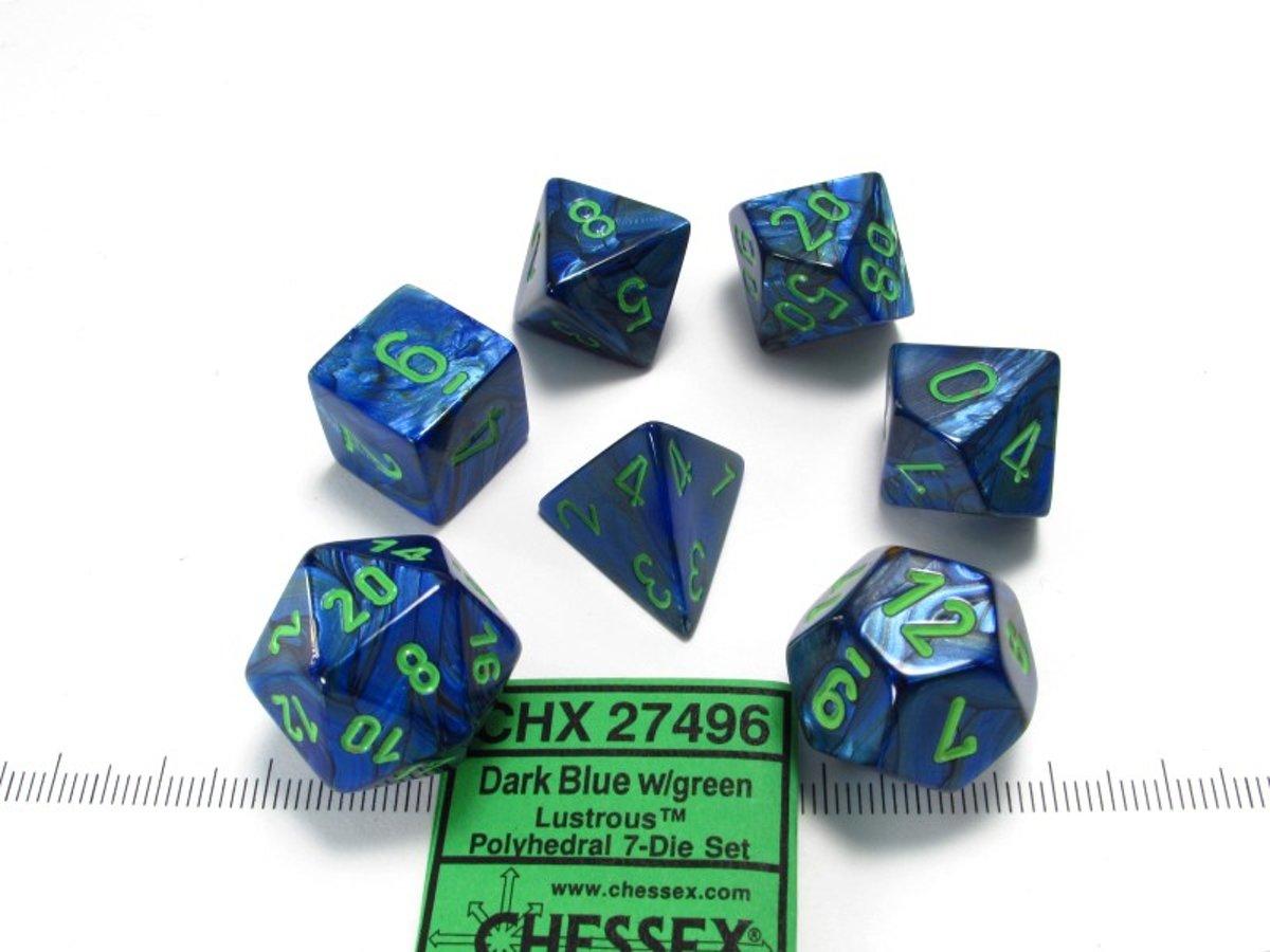 Chessex dobbelstenen set, 7 polydice, Lustrous dark blue w/green