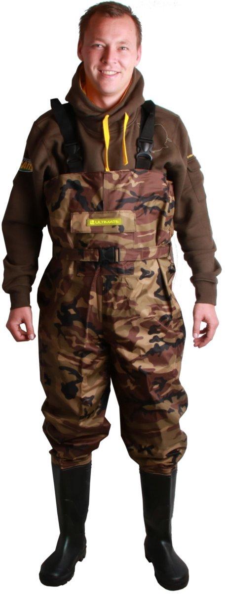 Ultimate Camo Waadpak - Maat 44 - Waterdicht Nylon pak met PVC laarzen - Camouflage Print