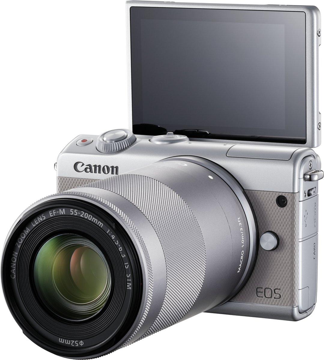 CANON EOS M100 + 15-45mm en 55-200mm Grijs kopen