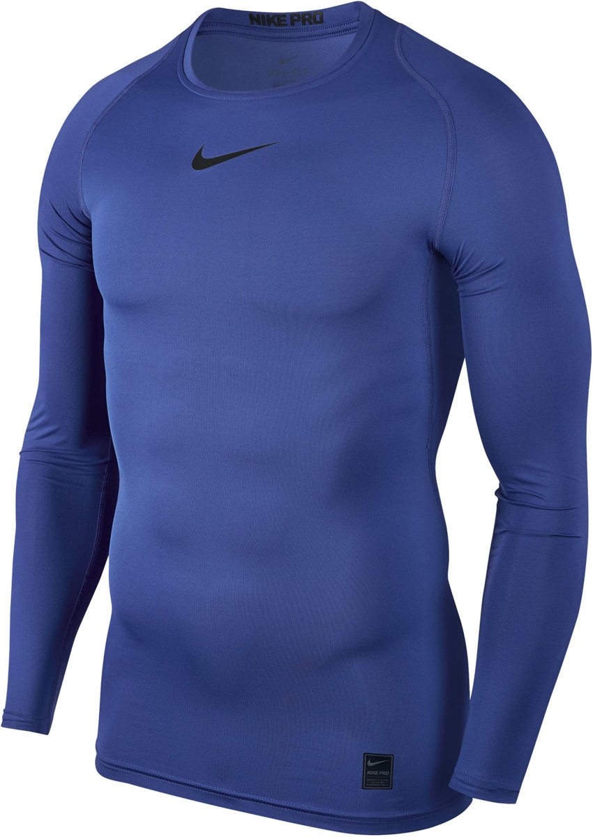Nike Pro Cool Compressie LS heren thermoshirt blauw