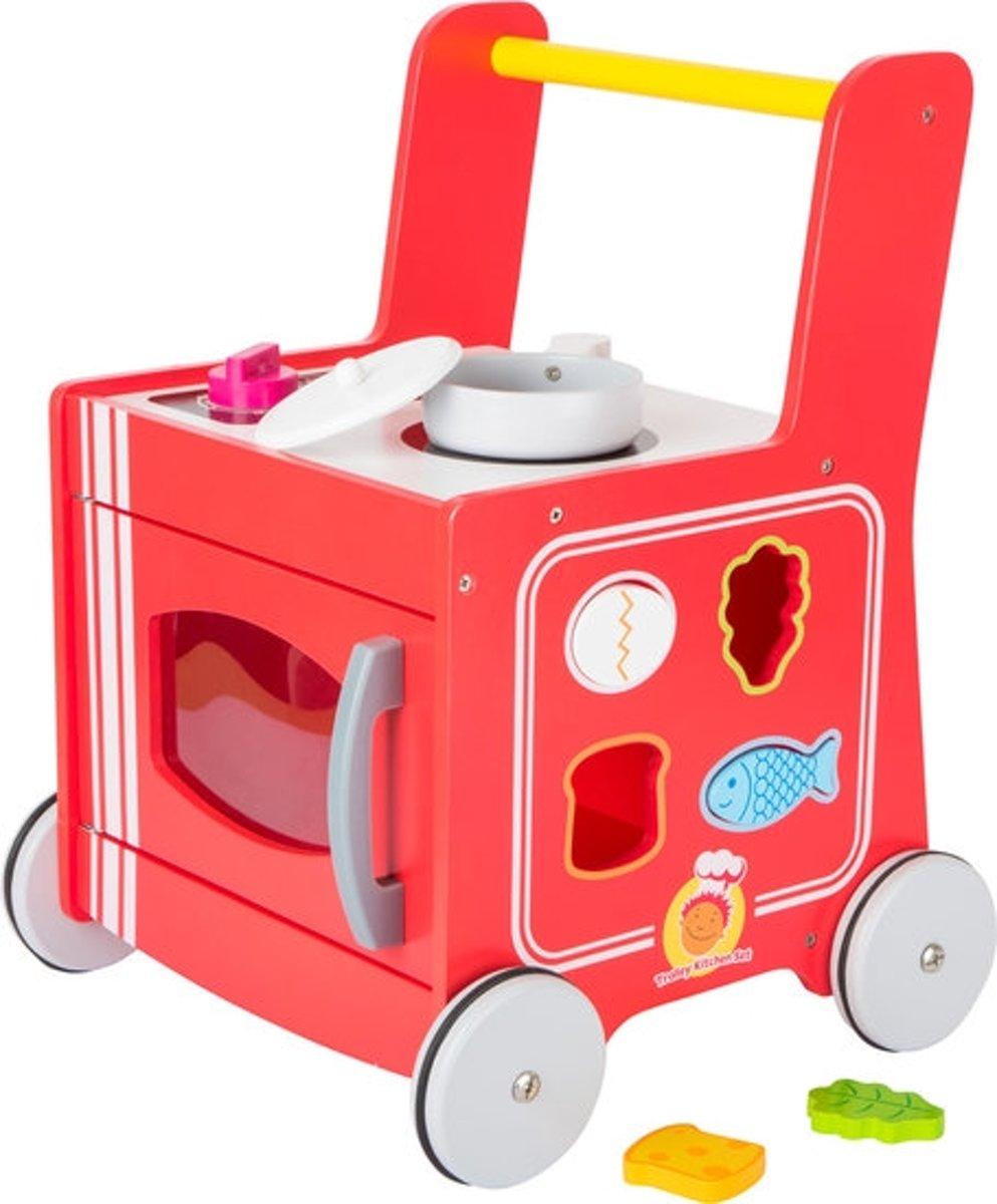 Loopwagen hout met activiteiten (baby walker) - keukentje - Rood - Houten speelgoed vanaf 1 jaar