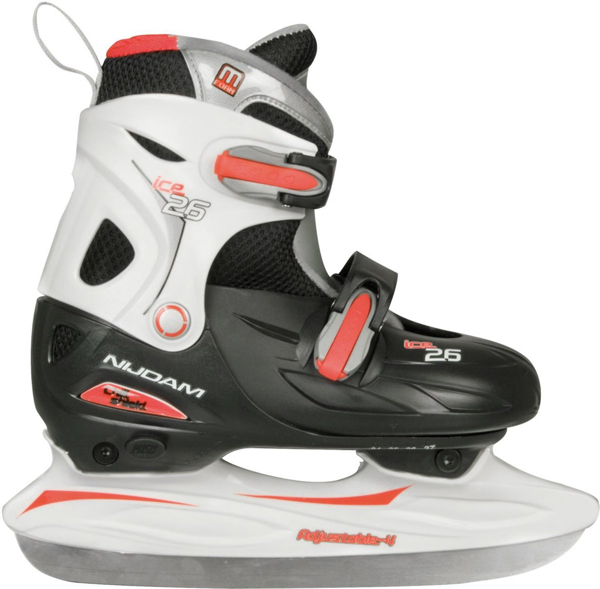 Nijdam 0026 Junior IJshockeyschaats - Verstelbaar - Hardboot - Zwart/Wit - Maat 27-30