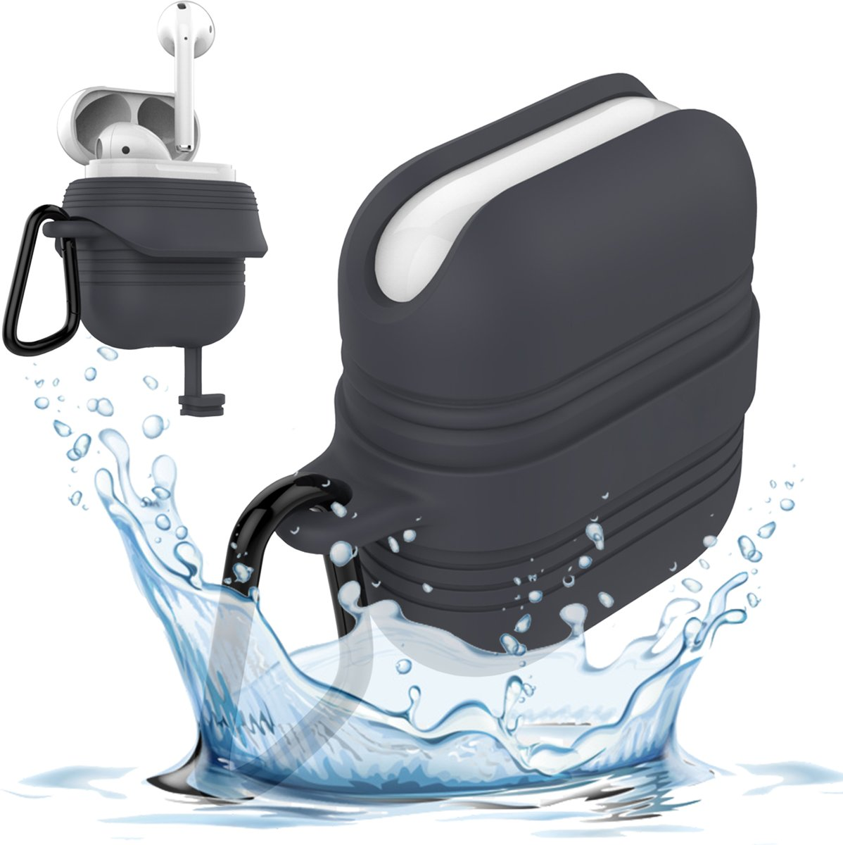 Airpods Hoesje voor Apple Airpods 1 / 2 - Waterdichte Case van iCall - Zwart kopen