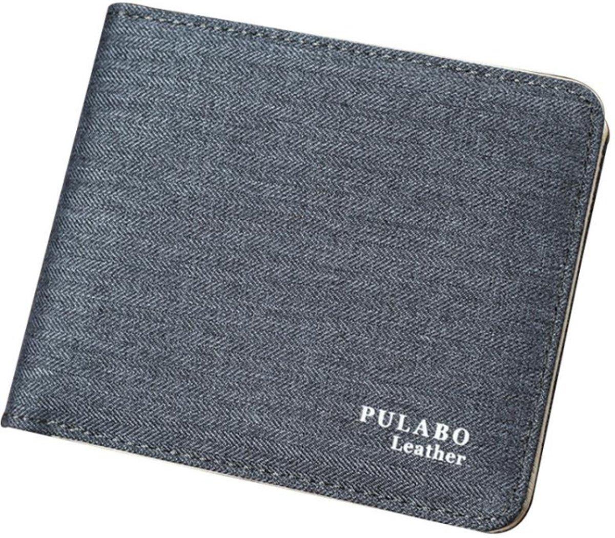Licht Grijze Pulabo Portemonnee – Portefeuille – Portemonnee – Heren Billfold – 9.5 bij 11.5cm