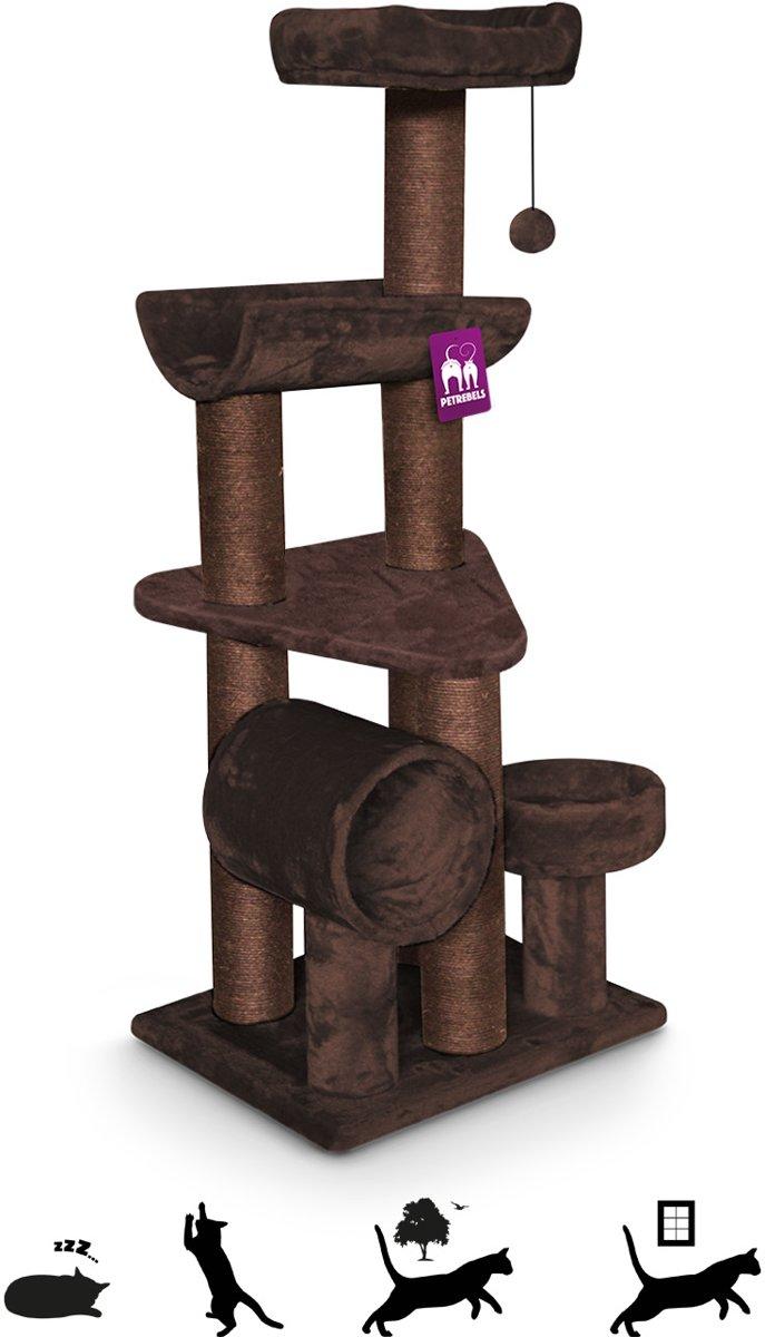 Petrebels krabpaal sweet petite chalet 145 fuzzy brown 60cm x 50cm x 145cm