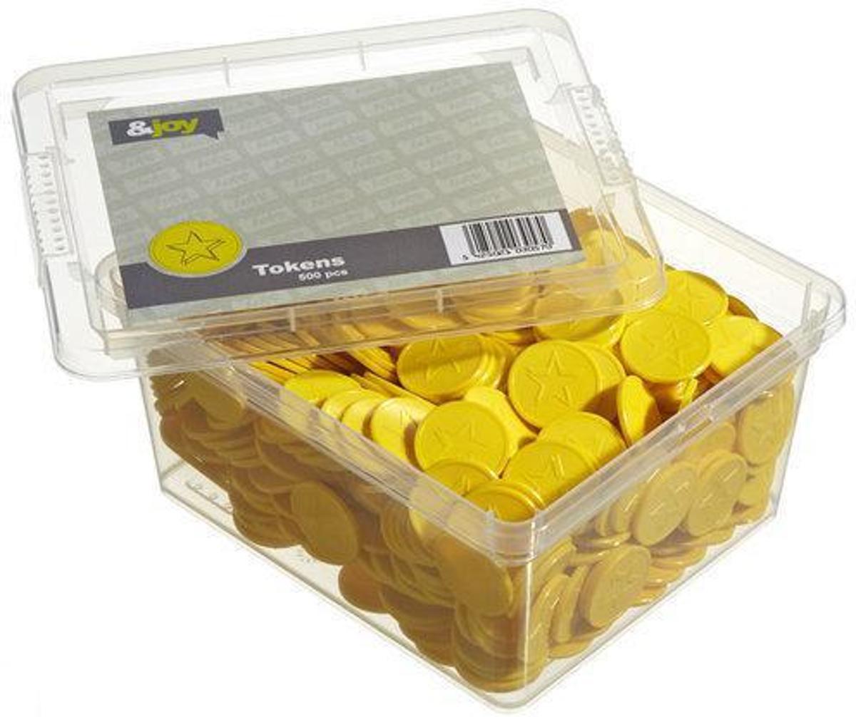 Gegraveerde Betaalmunten / Consumptiemunten - Gele Ster - 500 Jetons