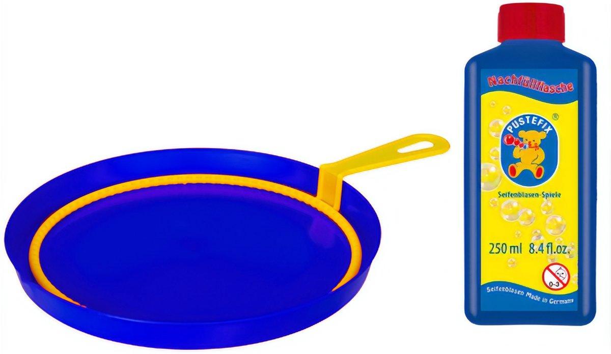 Pustefix Bellenblaasset 250 Ml Blaasring Met Bak Blauw