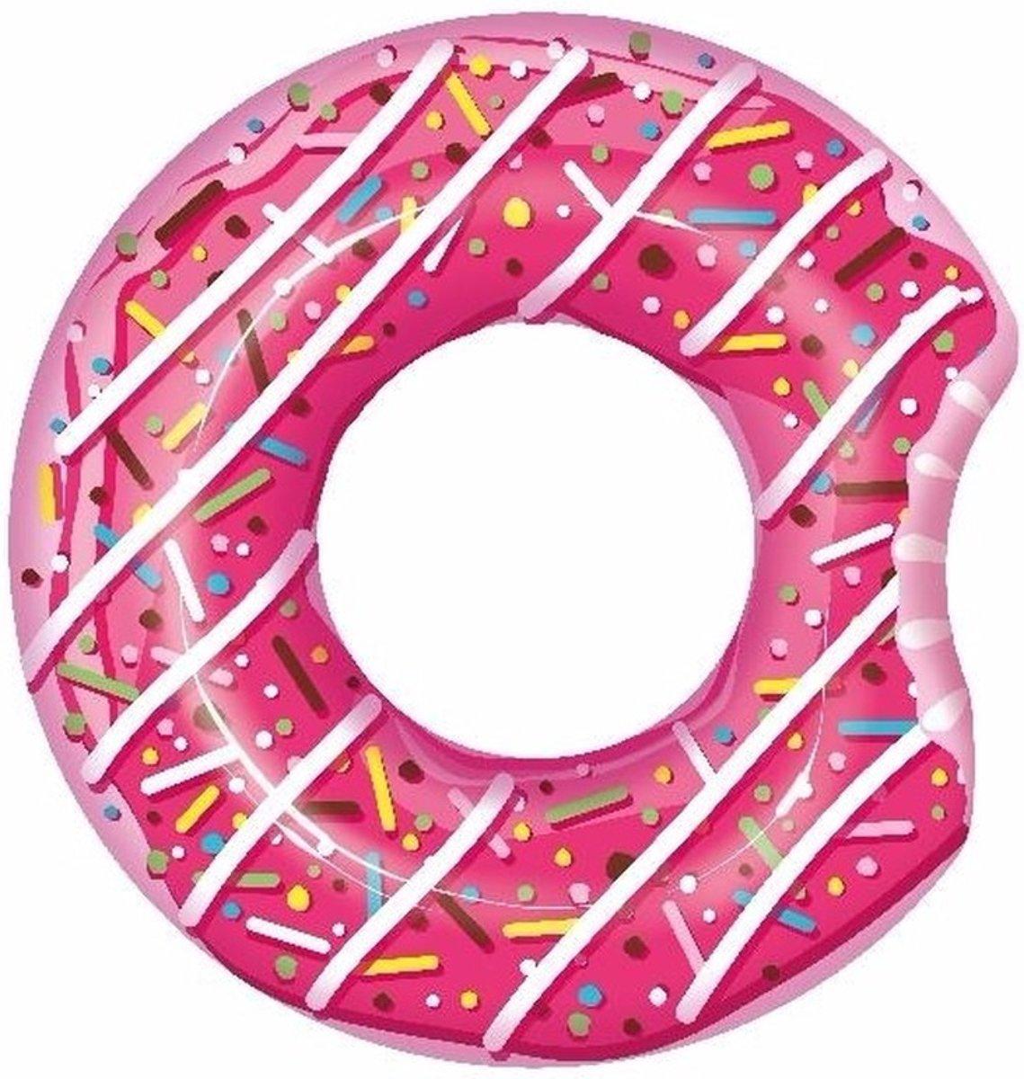 Opblaasbare roze donut 107 cm