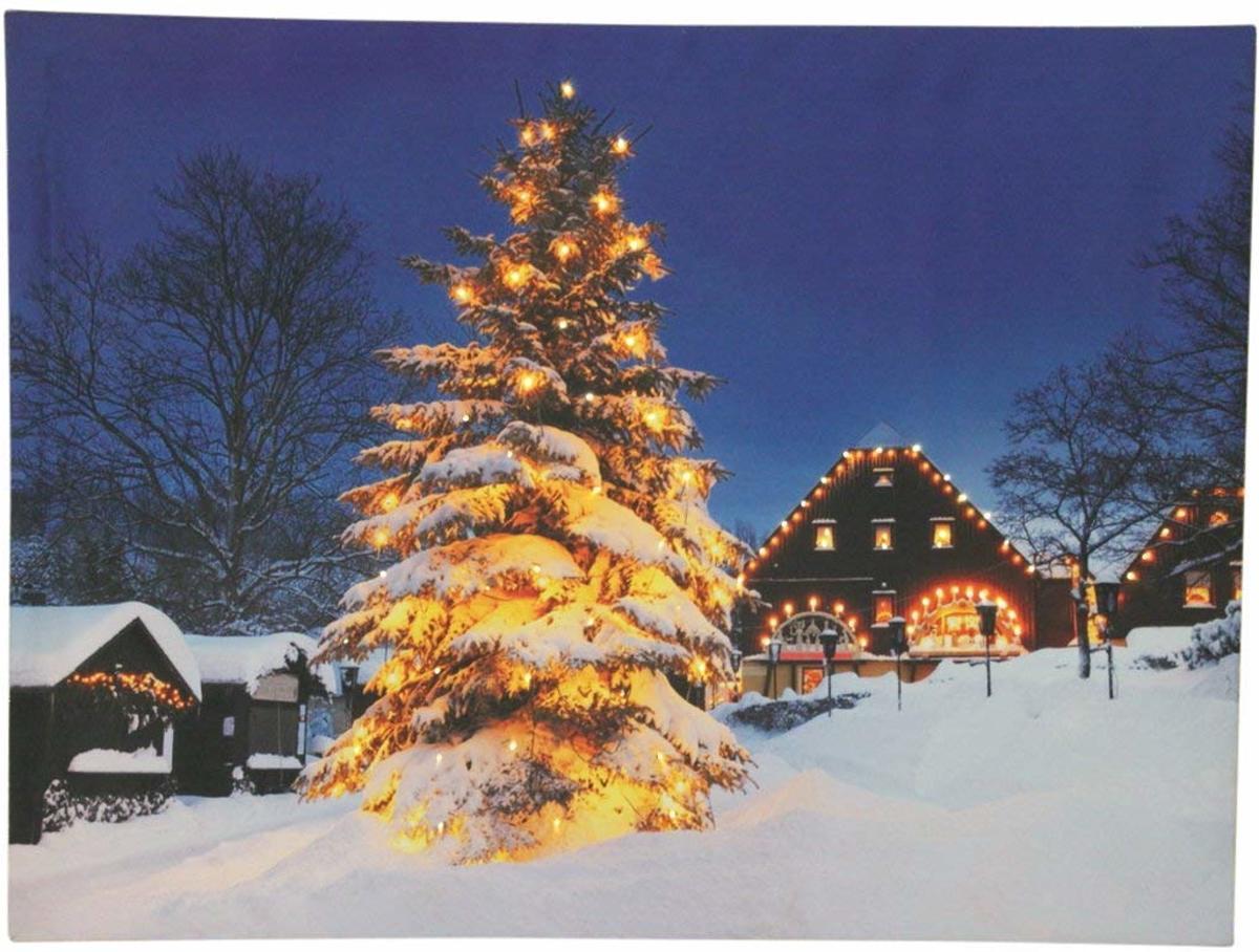 Canvas op houten frame - Verlichte kerstboom in de sneeuw