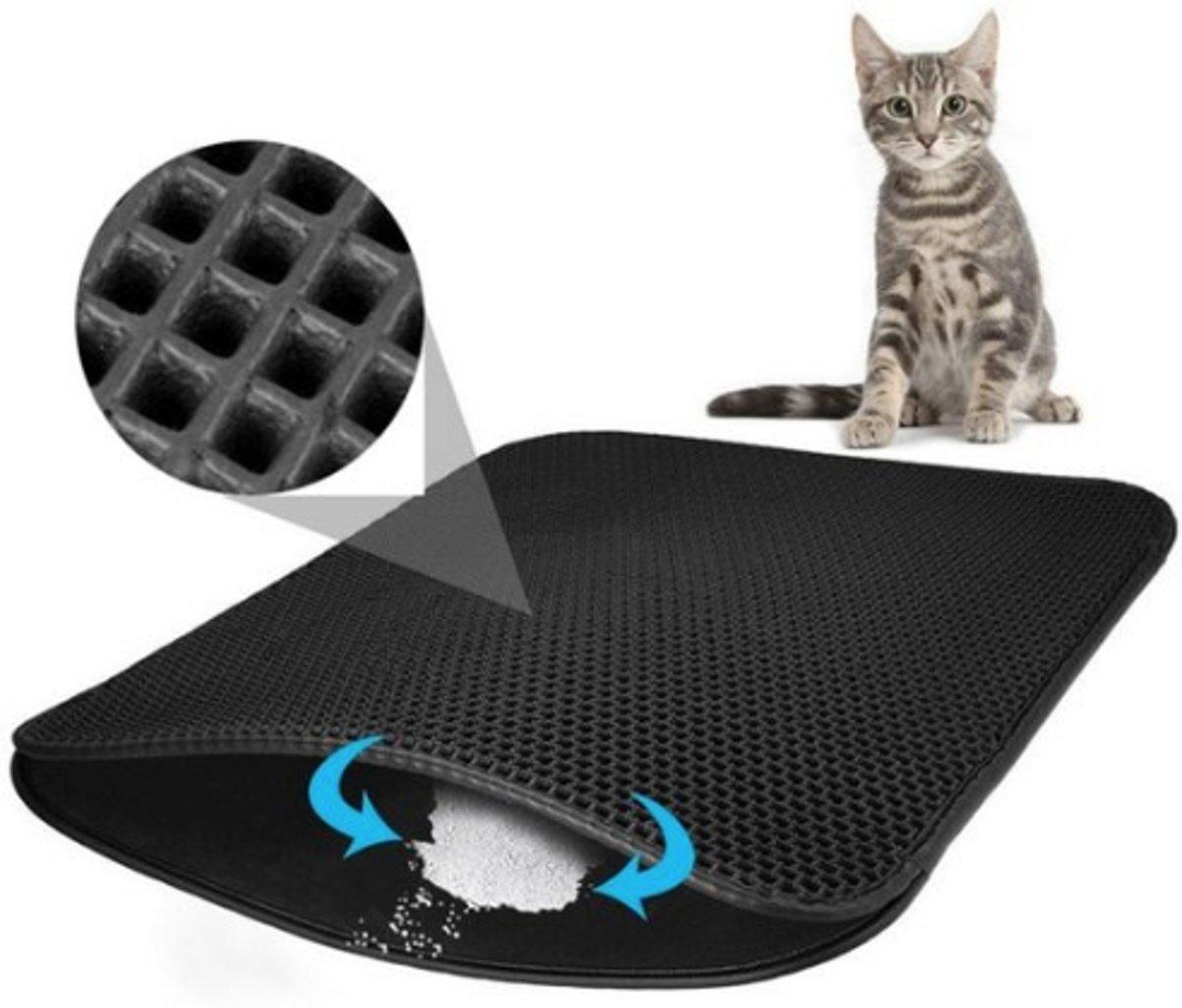 Kattenbakmat - Grit Opvanger - Waterdicht met Dubbele Laag - Cat litter mat - Zwart - 40 x 50 cm kopen