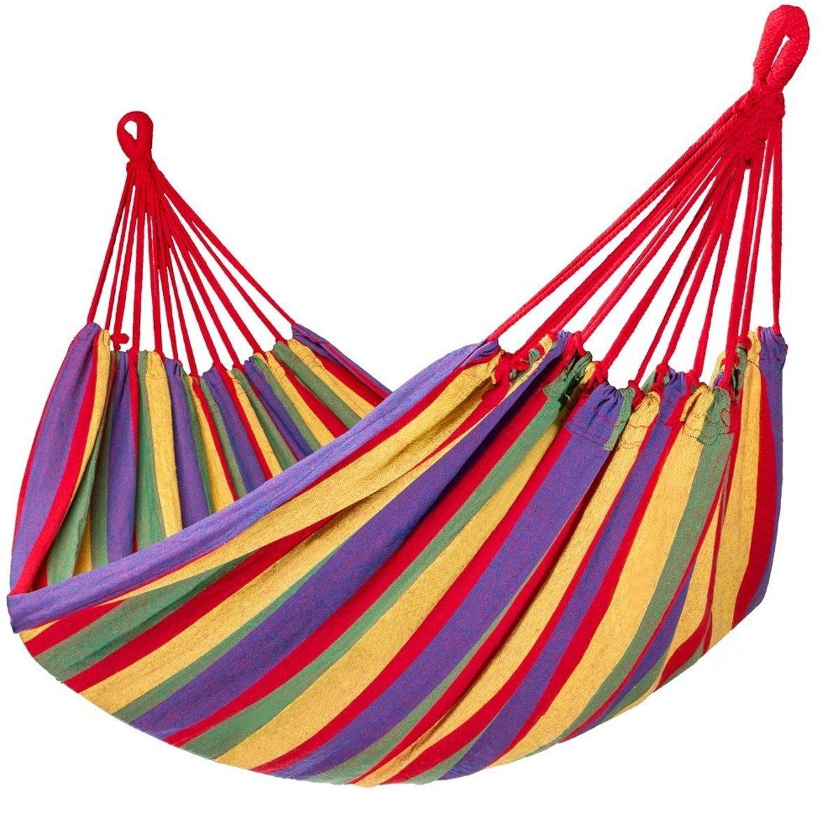 Campingwise ® 1-persoons hangmat, 190 x 80 cm. Trendy model 2019. Gratis draagzak en ophangkoorden.