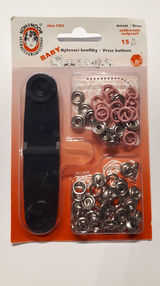 Babydrukkers Roze. Open ronde drukknopen. 10mm doorsnee.