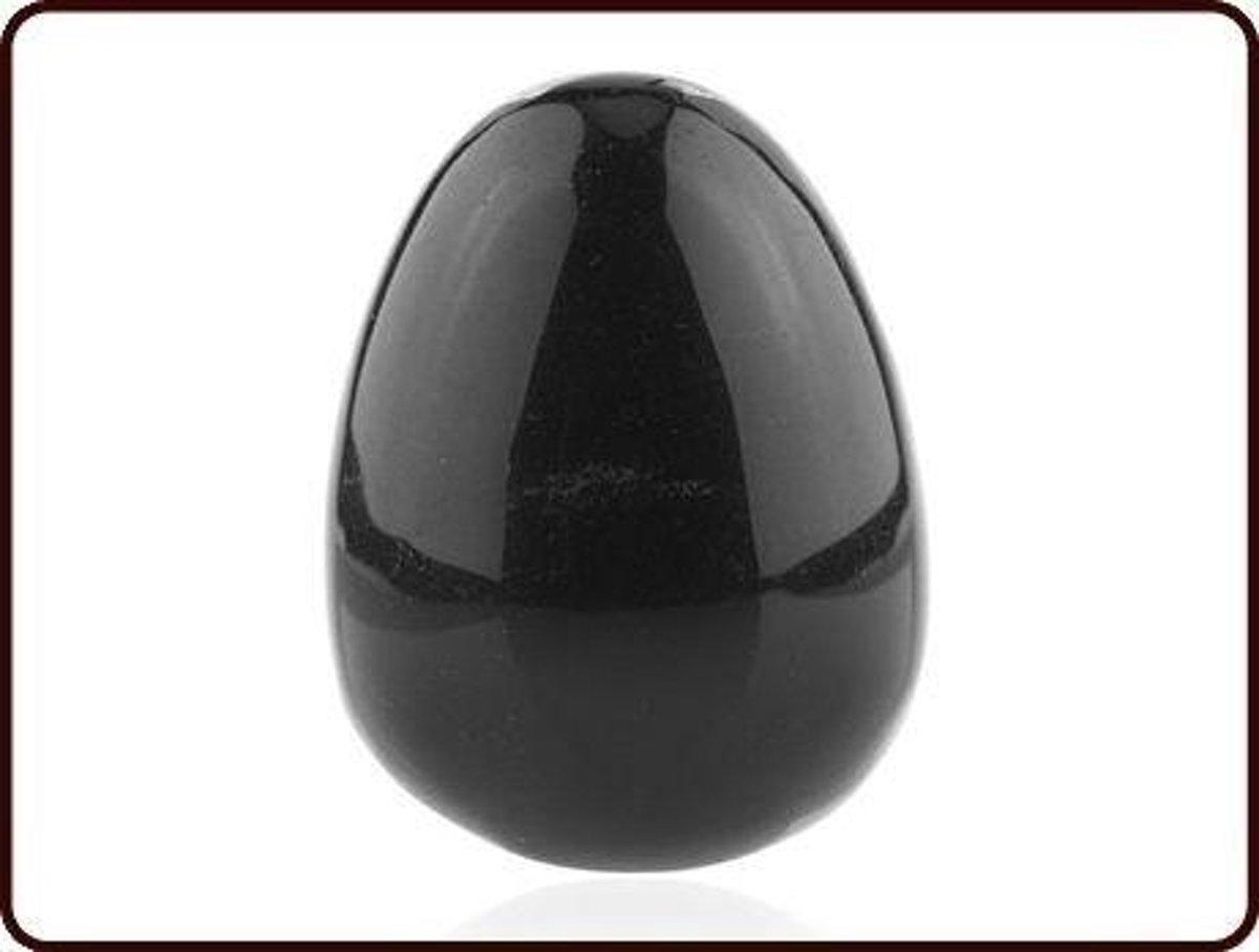 Yoni ei Obsdiaan zilver - 45 x 33 mm - Edelsteen massage kopen