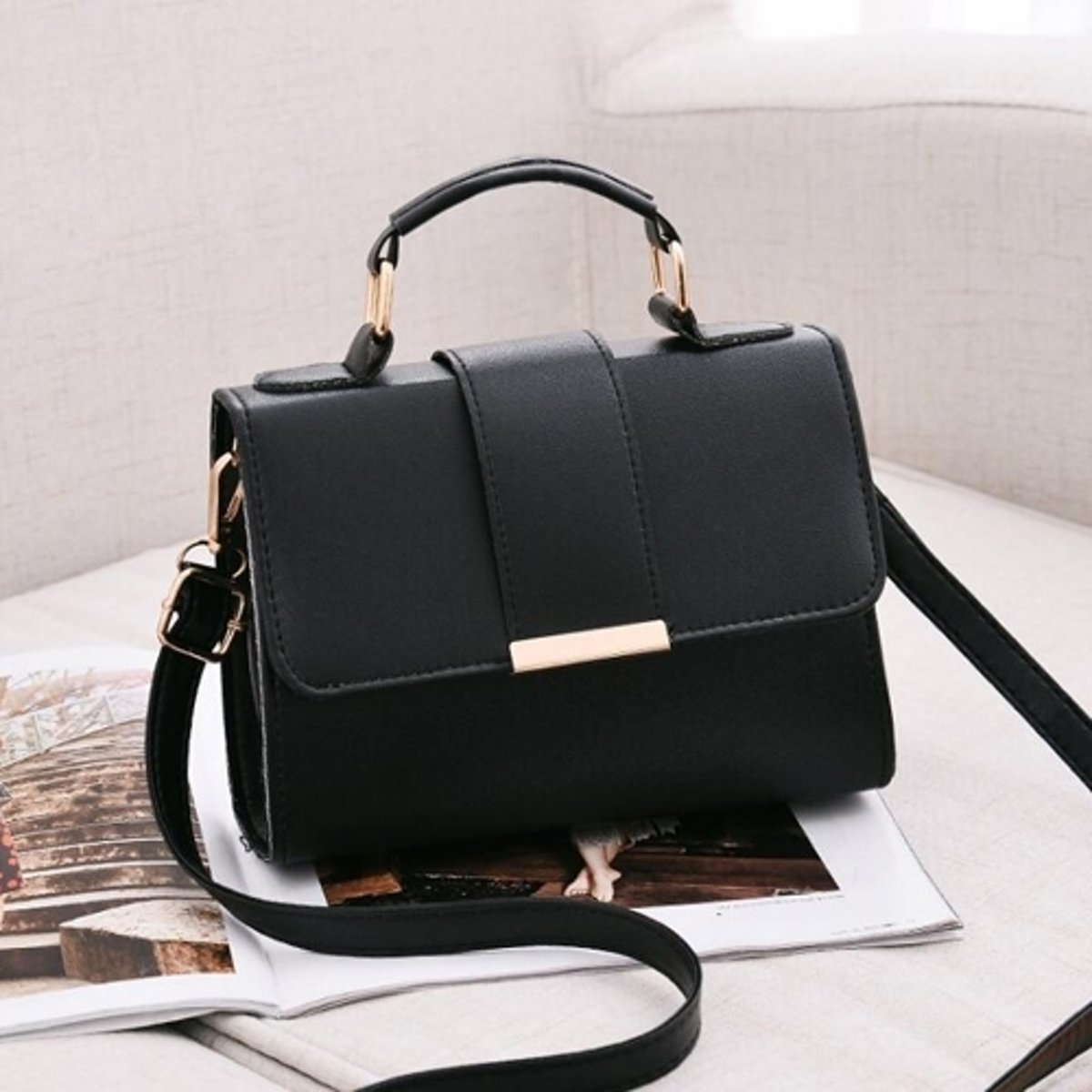 Let op type!! Women Bag Leather Handbags PU Shoulder Bag Small Flap Crossbody Bags for Women Messenger Bags(Black)
