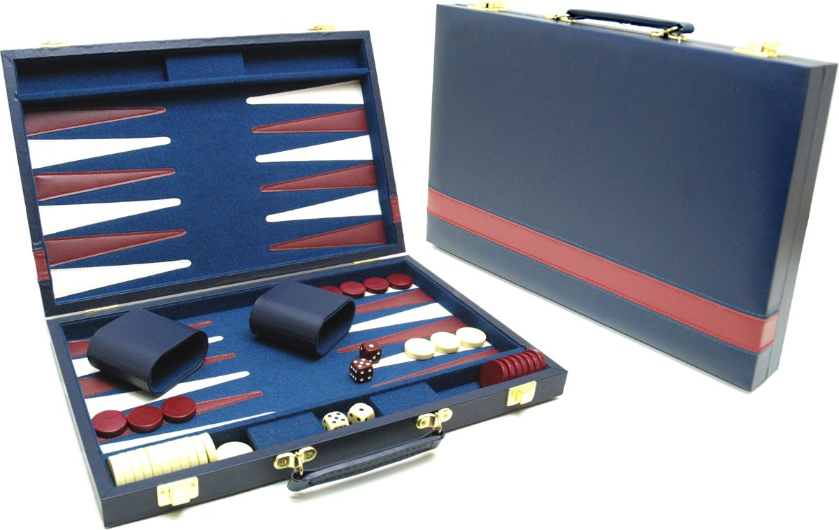 Hot sports Backgammon koffer blauw 38x24