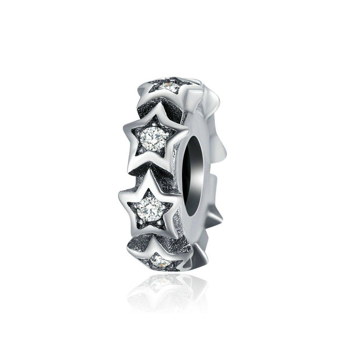 Zilveren sterren spacer met zirkonia steentjes kopen