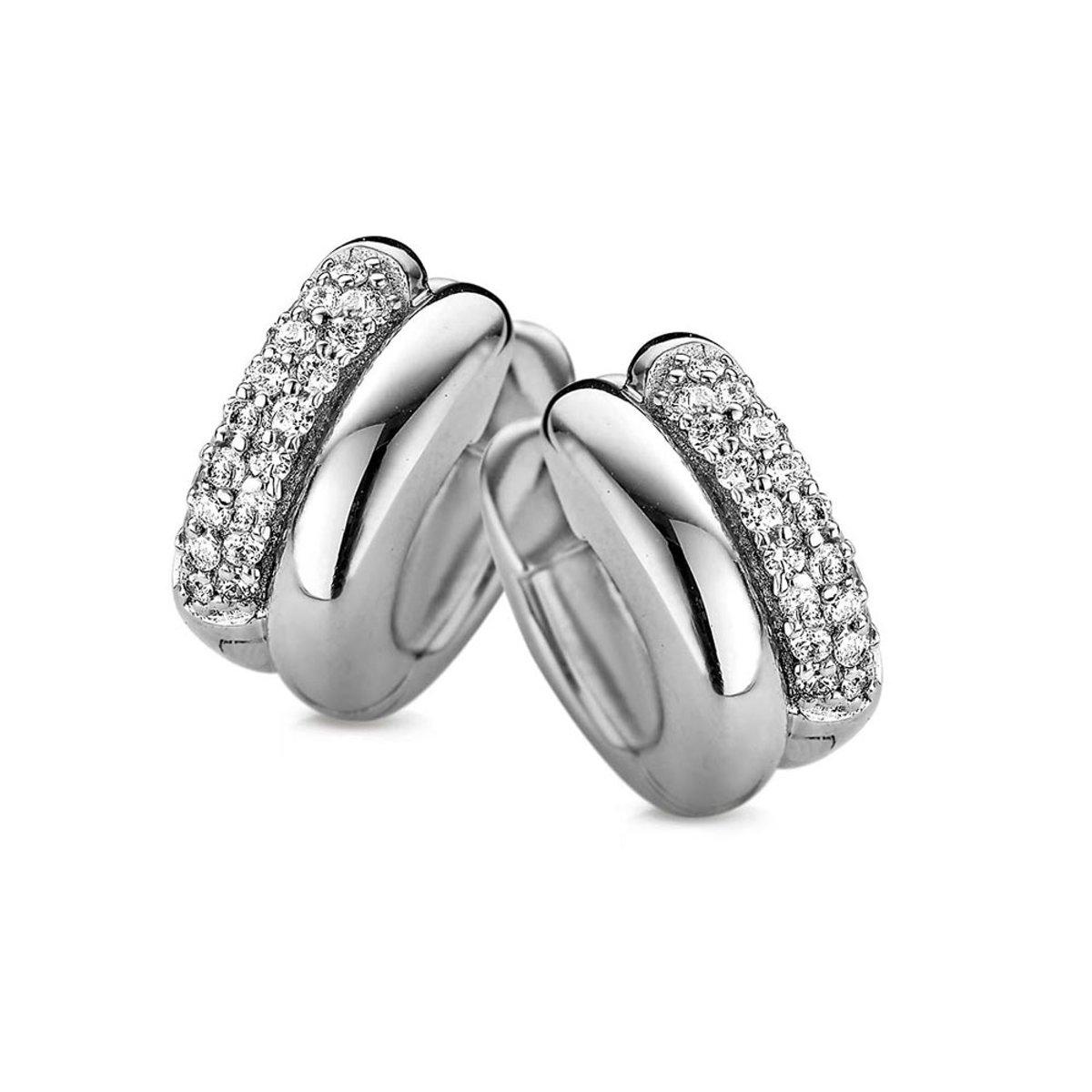New Bling 9NB-0146 - Zilveren oorringen - zirkonia - grootte 15x6 mm - zilverkleurig kopen