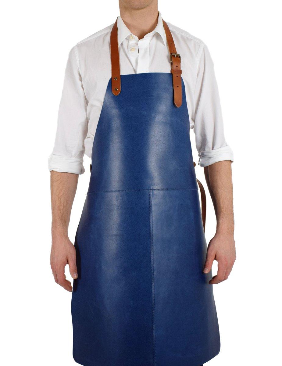Beste Top Honderd   StoerWonen® Luxe Leren BBQ Schort - Blauw - Voor QP-29