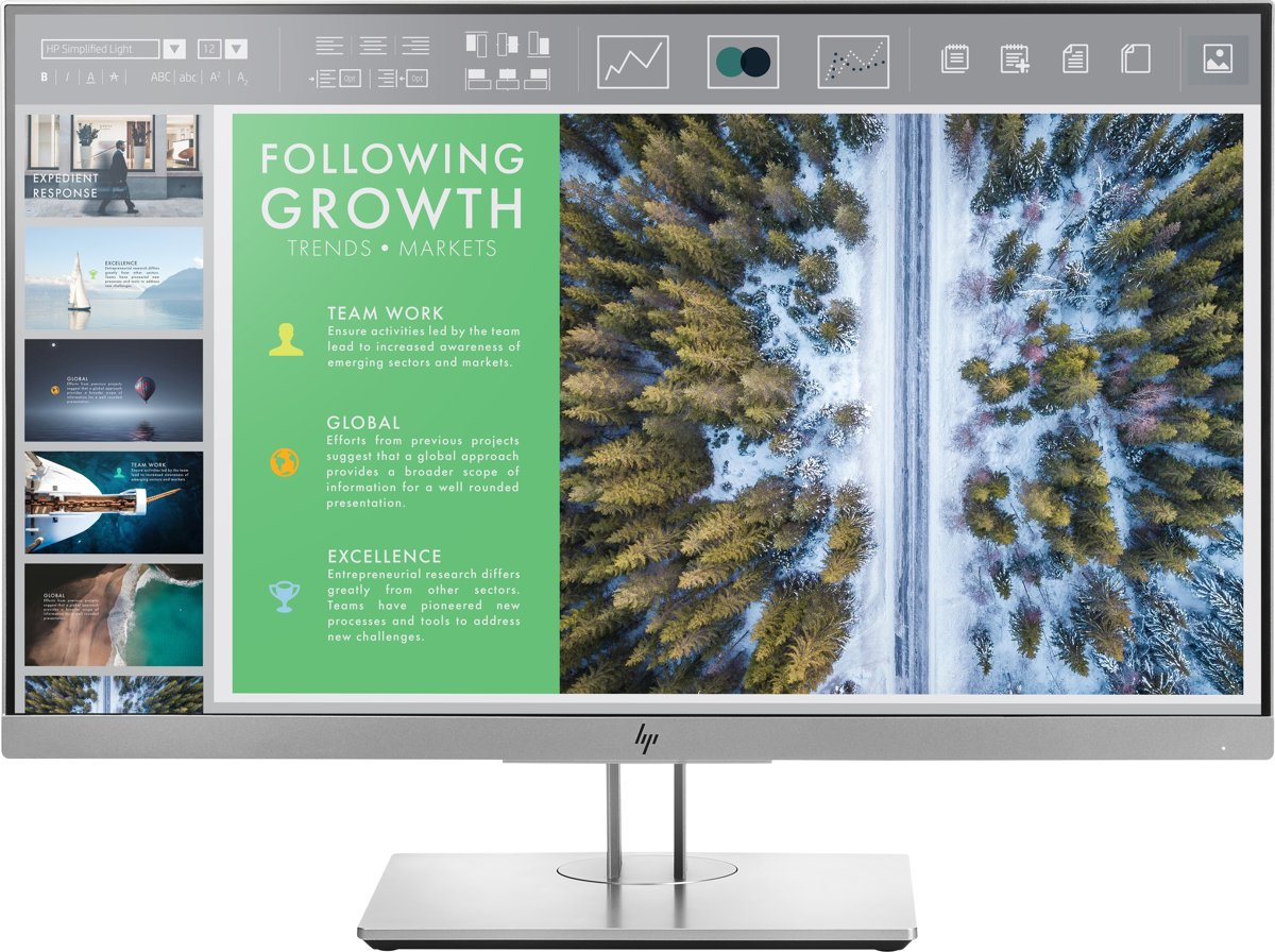HP EliteDisplay E243 LED display 60,5 cm (23.8'') Full HD Flat Zwart, Zilver